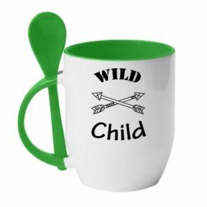 Kubek z ceramiczną łyżeczką Wild child