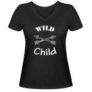 Damska koszulka V-neck Wild child