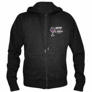 Men's zip up hoodie Wine a little laugh a lot - PrintSalon