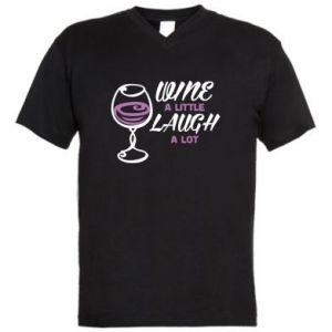 Men's V-neck t-shirt Wine a little laugh a lot - PrintSalon