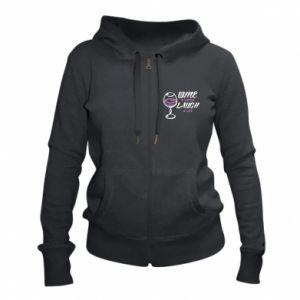 Women's zip up hoodies Wine a little laugh a lot - PrintSalon