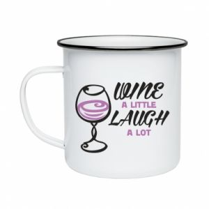 Kubek emaliowane Wine a little laugh a lot