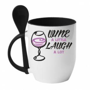 Mug with ceramic spoon Wine a little laugh a lot - PrintSalon