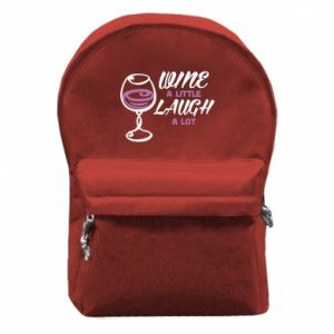 Backpack with front pocket Wine a little laugh a lot - PrintSalon