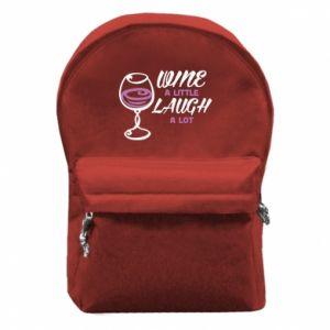 Plecak z przednią kieszenią Wine a little laugh a lot