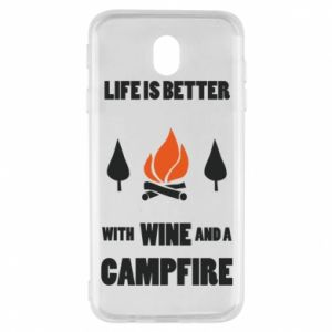 Samsung J7 2017 Case Wine and a campfire