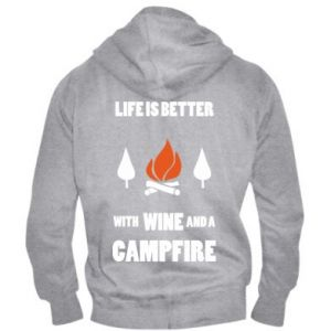 Męska bluza z kapturem na zamek Wine and a campfire