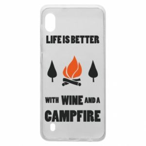 Samsung A10 Case Wine and a campfire