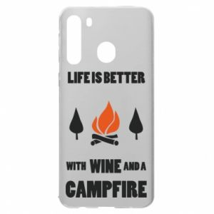 Samsung A21 Case Wine and a campfire