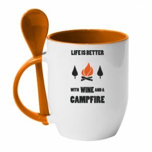 Kubek z ceramiczną łyżeczką Wine and a campfire