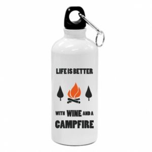 Water bottle Wine and a campfire