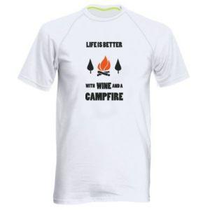 Męska koszulka sportowa Wine and a campfire
