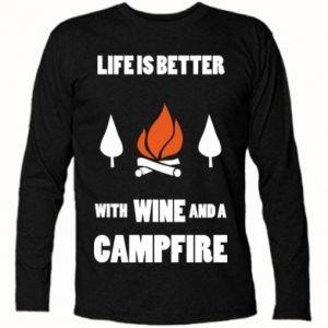 Koszulka z długim rękawem Wine and a campfire
