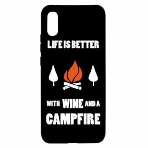 Xiaomi Redmi 9a Case Wine and a campfire