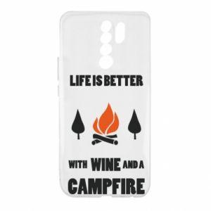Xiaomi Redmi 9 Case Wine and a campfire