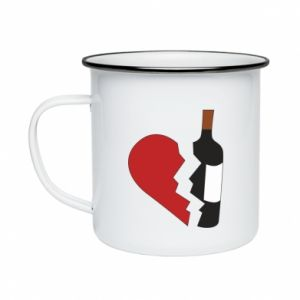 Kubek emaliowany Wine broke my heart