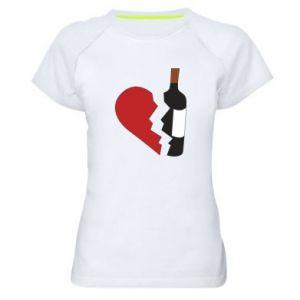 Koszulka sportowa damska Wine broke my heart