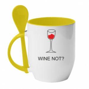 Mug with ceramic spoon Wine not - PrintSalon