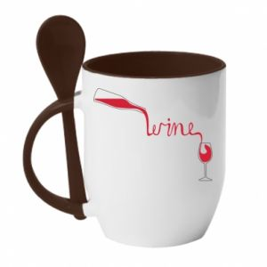 Mug with ceramic spoon Wine pouring into glass - PrintSalon