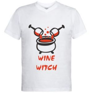 Men's V-neck t-shirt Wine witch - PrintSalon