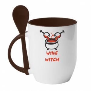 Mug with ceramic spoon Wine witch - PrintSalon