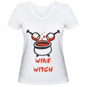 Women's V-neck t-shirt Wine witch - PrintSalon