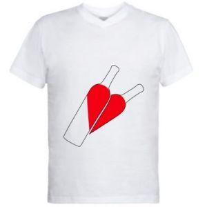 Męska koszulka V-neck Wino to miłość