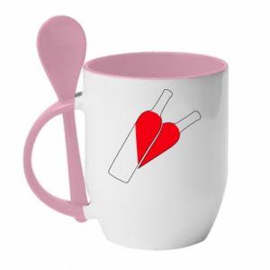 Kubek z ceramiczną łyżeczką Wino to miłość