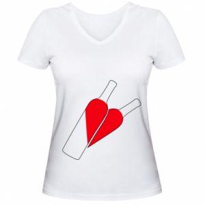 Women's V-neck t-shirt Wine is love