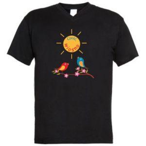 Męska koszulka V-neck Cześć, wiosno!