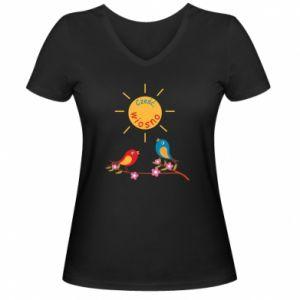Damska koszulka V-neck Cześć, wiosno!