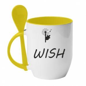 Kubek z ceramiczną łyżeczką Wish