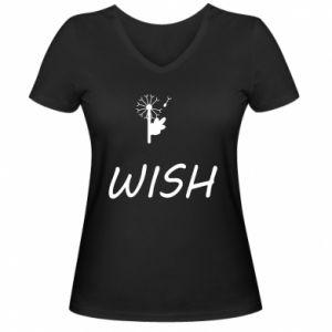 Damska koszulka V-neck Wish