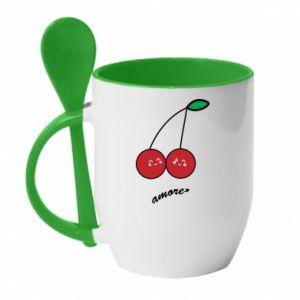 Mug with ceramic spoon Cherry lovers - PrintSalon