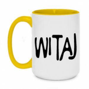 Two-toned mug 450ml Witaj