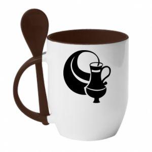 Mug with ceramic spoon Aquarius - PrintSalon