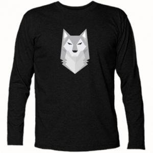 Long Sleeve T-shirt Wolf graphics minimalism - PrintSalon