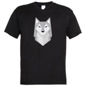 Men's V-neck t-shirt Wolf graphics minimalism - PrintSalon