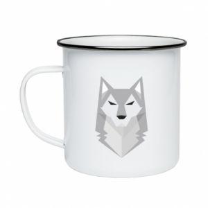 Enameled mug Wolf graphics minimalism - PrintSalon