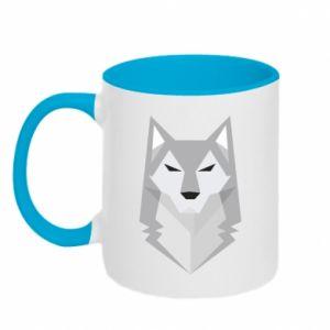 Two-toned mug Wolf graphics minimalism - PrintSalon