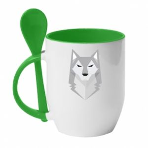 Mug with ceramic spoon Wolf graphics minimalism - PrintSalon