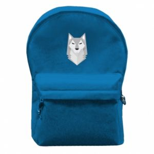 Backpack with front pocket Wolf graphics minimalism - PrintSalon