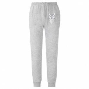 Męskie spodnie lekkie Wolf graphics minimalism - PrintSalon