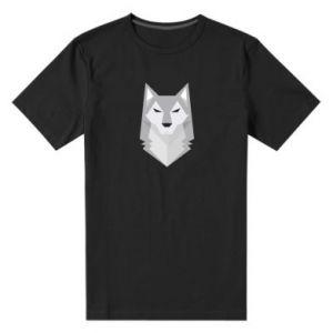 Men's premium t-shirt Wolf graphics minimalism - PrintSalon