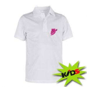 Dziecięca koszulka polo Wolf graphics pink