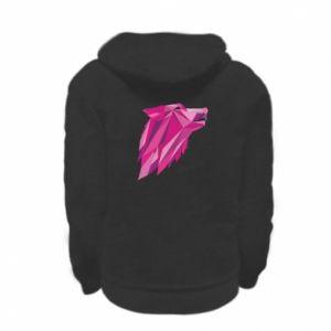 Bluza na zamek dziecięca Wolf graphics pink