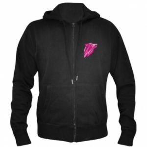 Męska bluza z kapturem na zamek Wolf graphics pink