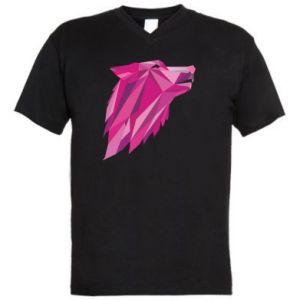 Męska koszulka V-neck Wolf graphics pink