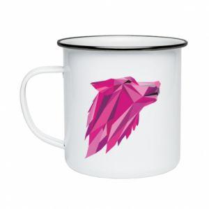 Kubek emaliowane Wolf graphics pink
