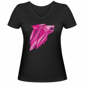 Women's V-neck t-shirt Wolf graphics pink